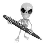 3D Skeleton Mascot is holding a big ballpoint pen with both hand Royalty Free Stock Photos