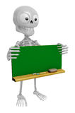 3D Skeleton Mascot holding a big board with both Green chalkboar Royalty Free Stock Images