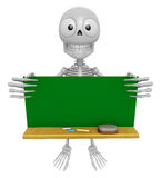 3D Skeleton Mascot holding a big board with both Green chalkboar Royalty Free Stock Photography