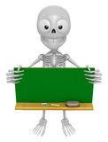 3D Skeleton Mascot holding a big board with both Green chalkboard. 3D Skull Character Design Series. Stock Images