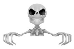 3D Skeleton Mascot holding a big board with both hands. 3D Skull Stock Images