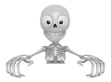 3D Skeleton Mascot holding a big board with both hands. 3D Skull Stock Image