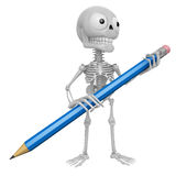 3D Skeleton Mascot is holding a big pencil with both hands. 3D S Stock Images