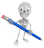 3D Skeleton Mascot is holding a big pencil with both hands. 3D S Stock Photo