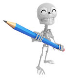 3D Skeleton Mascot is holding a big pencil with both hands. 3D S Royalty Free Stock Images