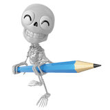 3D Skeleton Mascot is holding a big pencil with both hands. 3D S Royalty Free Stock Photography