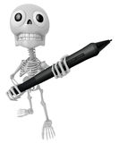 3D Skeleton Mascot is holding a big tablet pen with both hands. Stock Photo