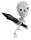 3D Skeleton Mascot is holding a big tablet pen with both hands. Royalty Free Stock Photo
