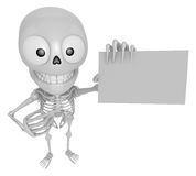 3D Skeleton Mascot is holding a business card. 3D Skull Characte Stock Photo