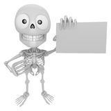 3D Skeleton Mascot is holding a business card. 3D Skull Characte Stock Photos