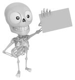3D Skeleton Mascot is holding a business card. 3D Skull Characte Royalty Free Stock Image