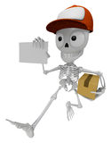3D Skeleton Mascot is holding a courier box and business card. 3 Royalty Free Stock Photo