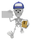 3D Skeleton Mascot is holding a courier box and business card. 3 Royalty Free Stock Images