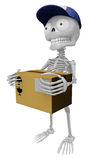 3D Skeleton Mascot is holding a courier box. 3D Skull Character Royalty Free Stock Photo