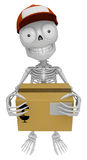 3D Skeleton Mascot is holding a courier box. 3D Skull Character Royalty Free Stock Images