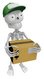 3D Skeleton Mascot is holding a courier box. 3D Skull Character Stock Images