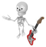 3D Skeleton Mascot is holding electric guitar. 3D Skull Characte Stock Image