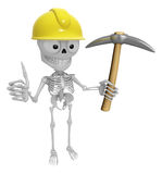 3D Skeleton Mascot is holding electric pickax. 3D Skull Characte Stock Images