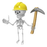 3D Skeleton Mascot is holding electric pickax. 3D Skull Characte Stock Image