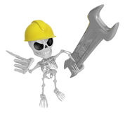 3D Skeleton Mascot is holding electric wrench. 3D Skull Characte Stock Image