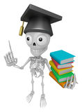 3D Skeleton Mascot is holding a pile of books. 3D Skull Characte Stock Photos