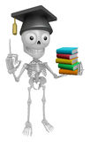3D Skeleton Mascot is holding a pile of books. 3D Skull Characte Stock Images