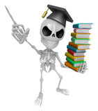 3D Skeleton Mascot is holding a pile of books. 3D Skull Characte Stock Photography