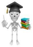 3D Skeleton Mascot is holding a pile of books. 3D Skull Characte Stock Image