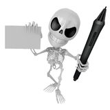 3D Skeleton Mascot is Holding a tablet pen and business card in Royalty Free Stock Photos