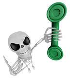 3D Skeleton Mascot just calls me back when you have more time. 3 Royalty Free Stock Photo