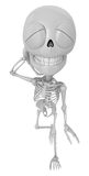 3D Skeleton Mascot is just scratched his head from embarrassment Stock Image
