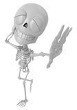 3D Skeleton Mascot is just scratched his head from embarrassment Stock Photo