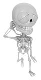 3D Skeleton Mascot is just scratched his head from embarrassment Royalty Free Stock Photography