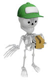 3D Skeleton Mascot is Kindly courier holding the box. 3D Skull C Royalty Free Stock Photography