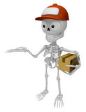 3D Skeleton Mascot is Kindly courier holding the box. 3D Skull C Royalty Free Stock Images