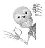 3D Skeleton Mascot the left hand OK gesture and right hand is ho Stock Image