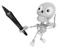 3D Skeleton Mascot the left hand telephone gesture and right han Royalty Free Stock Photography