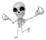 3D Skeleton Mascot is money gestures of both hands. 3D Skull Cha Stock Images