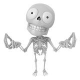 3D Skeleton Mascot is money gestures of both hands. 3D Skull Cha Stock Photos