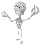 3D Skeleton Mascot is money gestures of both hands. 3D Skull Cha Royalty Free Stock Images