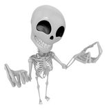 3D Skeleton Mascot is money gestures of both hands. 3D Skull Cha Royalty Free Stock Image