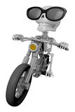 3D Skeleton Mascot is motorbikes driving. 3D Skull Character Des Stock Images