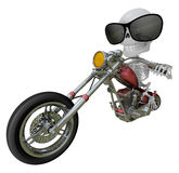 3D Skeleton Mascot is motorbikes driving. 3D Skull Character Des Stock Image