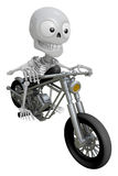 3D Skeleton Mascot is motorbikes driving. 3D Skull Character Des Stock Photos