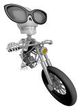 3D Skeleton Mascot is motorbikes driving. 3D Skull Character Des Royalty Free Stock Photography