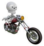 3D Skeleton Mascot is motorbikes driving. 3D Skull Character Des Stock Photography