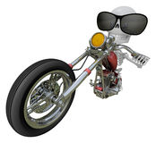 3D Skeleton Mascot is motorbikes driving. 3D Skull Character Des Royalty Free Stock Photos