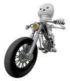 3D Skeleton Mascot is motorcycle do an acrobatic movement. 3D Sk Royalty Free Stock Photography