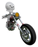 3D Skeleton Mascot is motorcycle do an acrobatic movement. 3D Sk Stock Photo