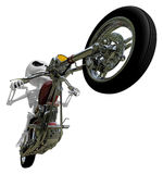 3D Skeleton Mascot is motorcycle do an acrobatic movement. 3D Sk Royalty Free Stock Photo